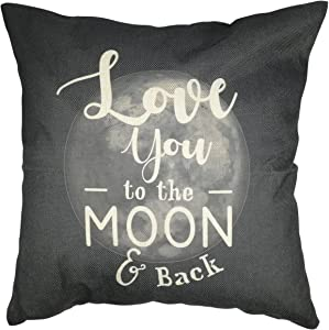 Arundeal Decorative Throw Pillow Case Cushion Covers, Dark Grey, Cotton Linen 18 x 18 Inches, I Love You to The Moon and Back, for Sofa Couch Bed Decor
