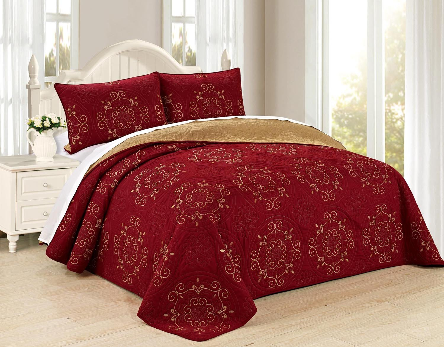 All American Collection New 3pc Circle Reversible Embroidered Bedspread/Quilt Set (King 3pc, Burgundy)