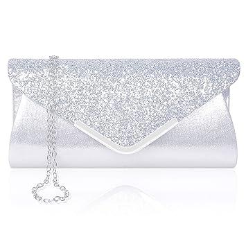 100% authentique 907b7 f5288 Larcenciel Pochette Enveloppe Sac de Soirée en Paillettes Brillant Argenté  pour Femme (argent)