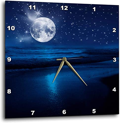 3dRose DPP_79424_3 Full Moon Shining in A Starry Sky on The Beach Where The Ocean Meets Land.-Wall Clock, 15 by 15-Inch