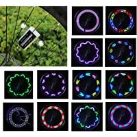 Vincilee Bicycle Wheel Lights, Bicycle Spoke Lights, Outdoor Bike Safety Accessories Bike Wheel Lights 30 Kinds of Change Patterns, LED Light Bulbs , Completely Waterproof Black Appe(1pack)