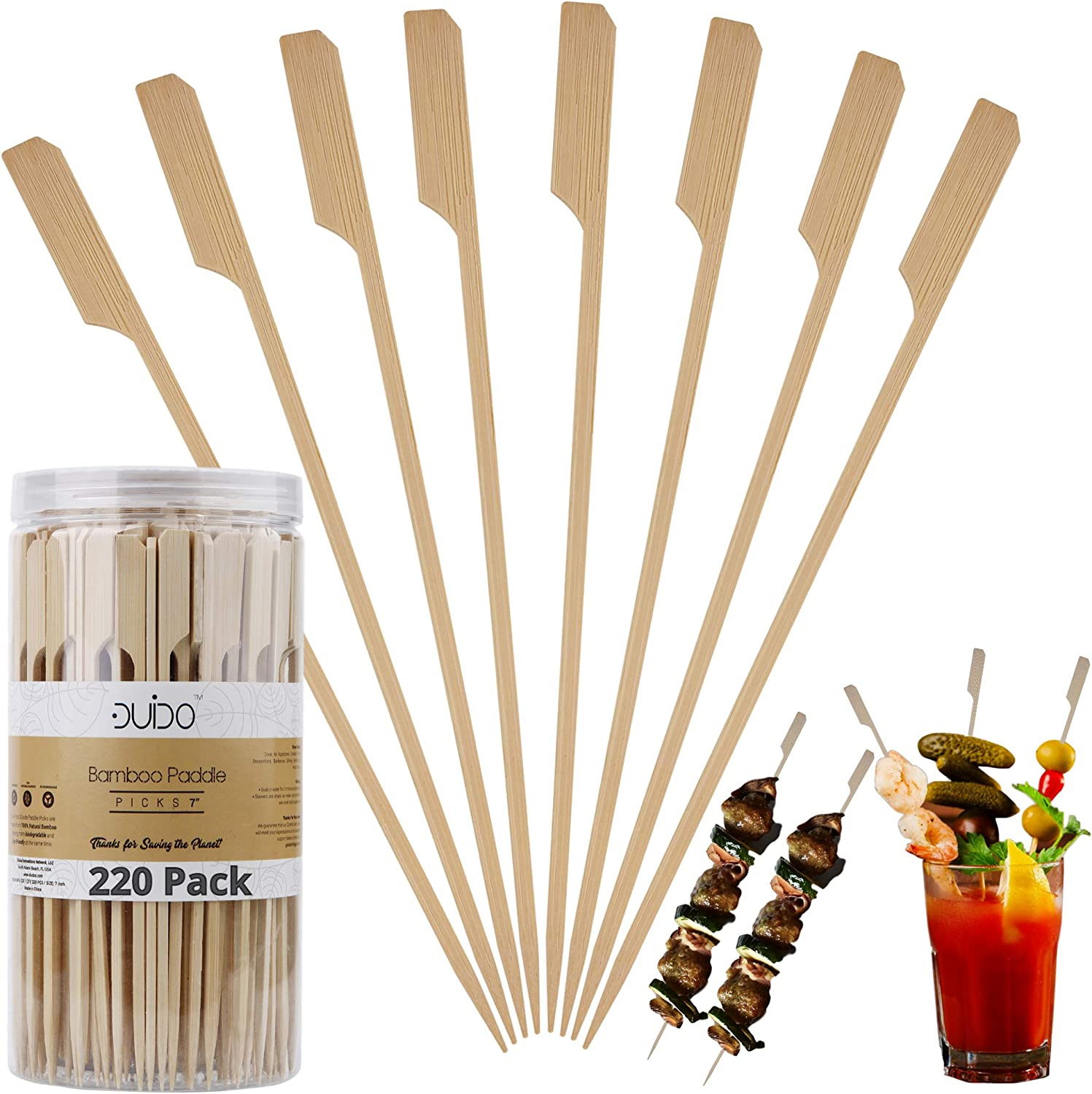 Bamboo Skewers Paddle Wooden Sticks – (220 Pack / 7 Inch) Eco Friendly Grill Skewers for BBQ/Barbecue Kebab Appetizers Fruit Kabob Fondue Satay Chocolate Fountain – Natural Long Toothpicks Kabob