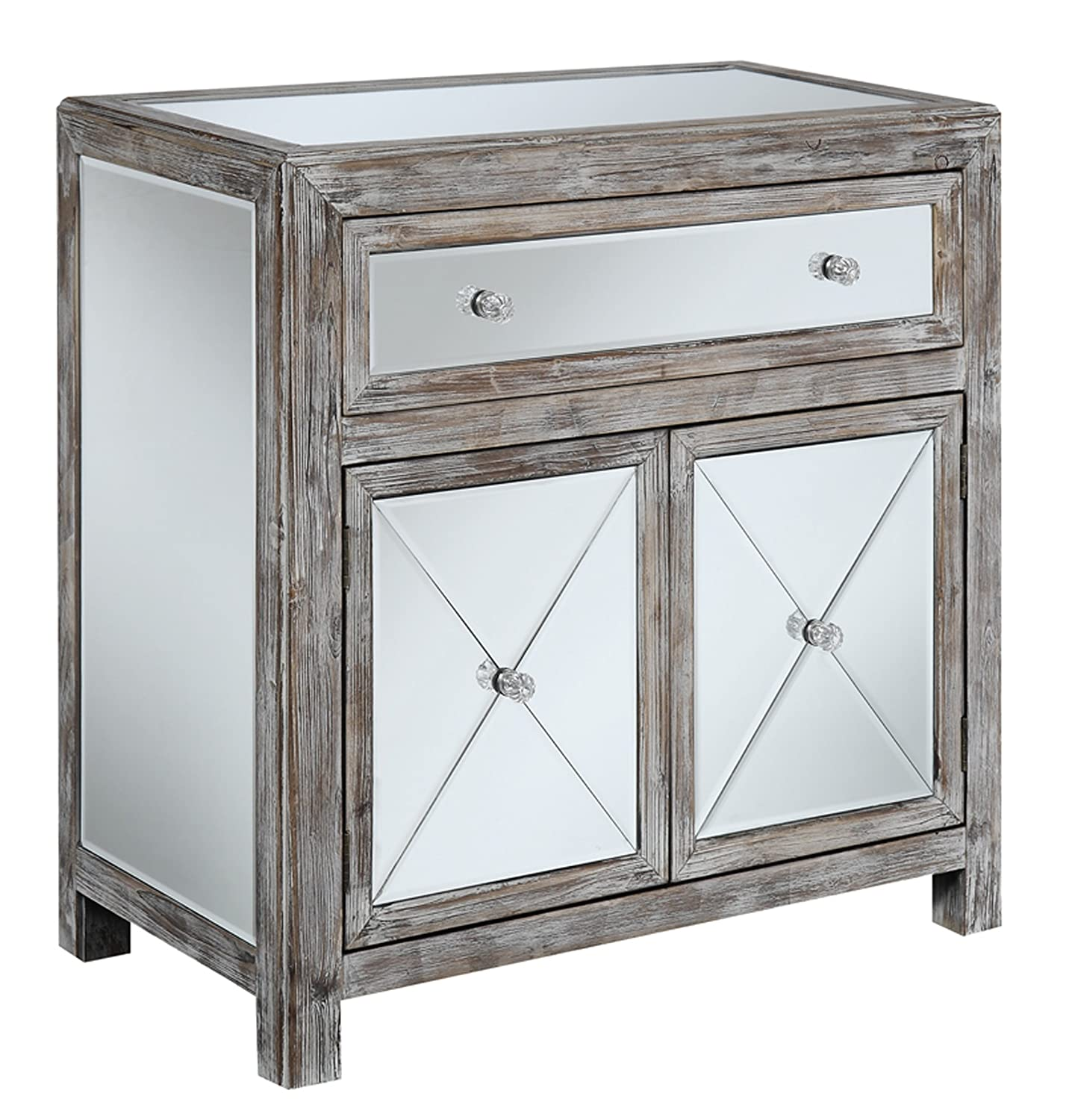 Amazon.com: Convenience Concepts Gold Coast Collection Vineyard Mirrored  Cabinet, Weathered White/Mirror: Kitchen & Dining