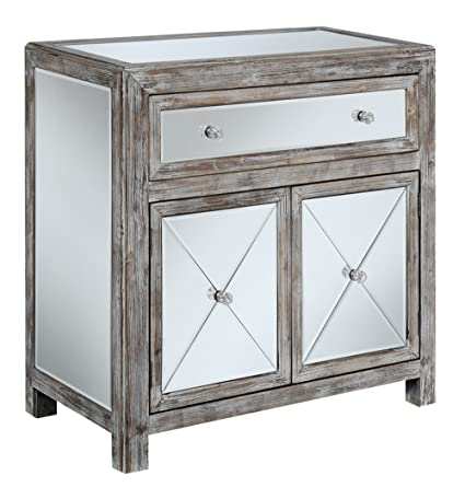 Convenience Concepts Gold Coast Collection Vineyard Mirrored Cabinet,  Weathered White/Mirror