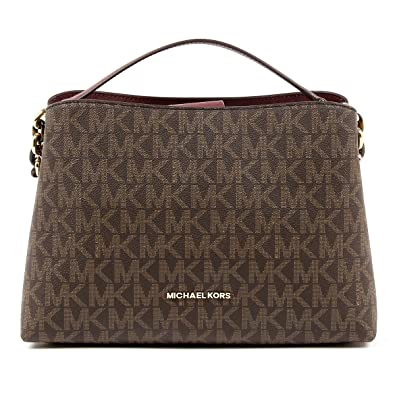 e66ea8ccc438 ... denmark michael kors portia large east west mk signature satchel  crossbody bag purse tote handbag brown