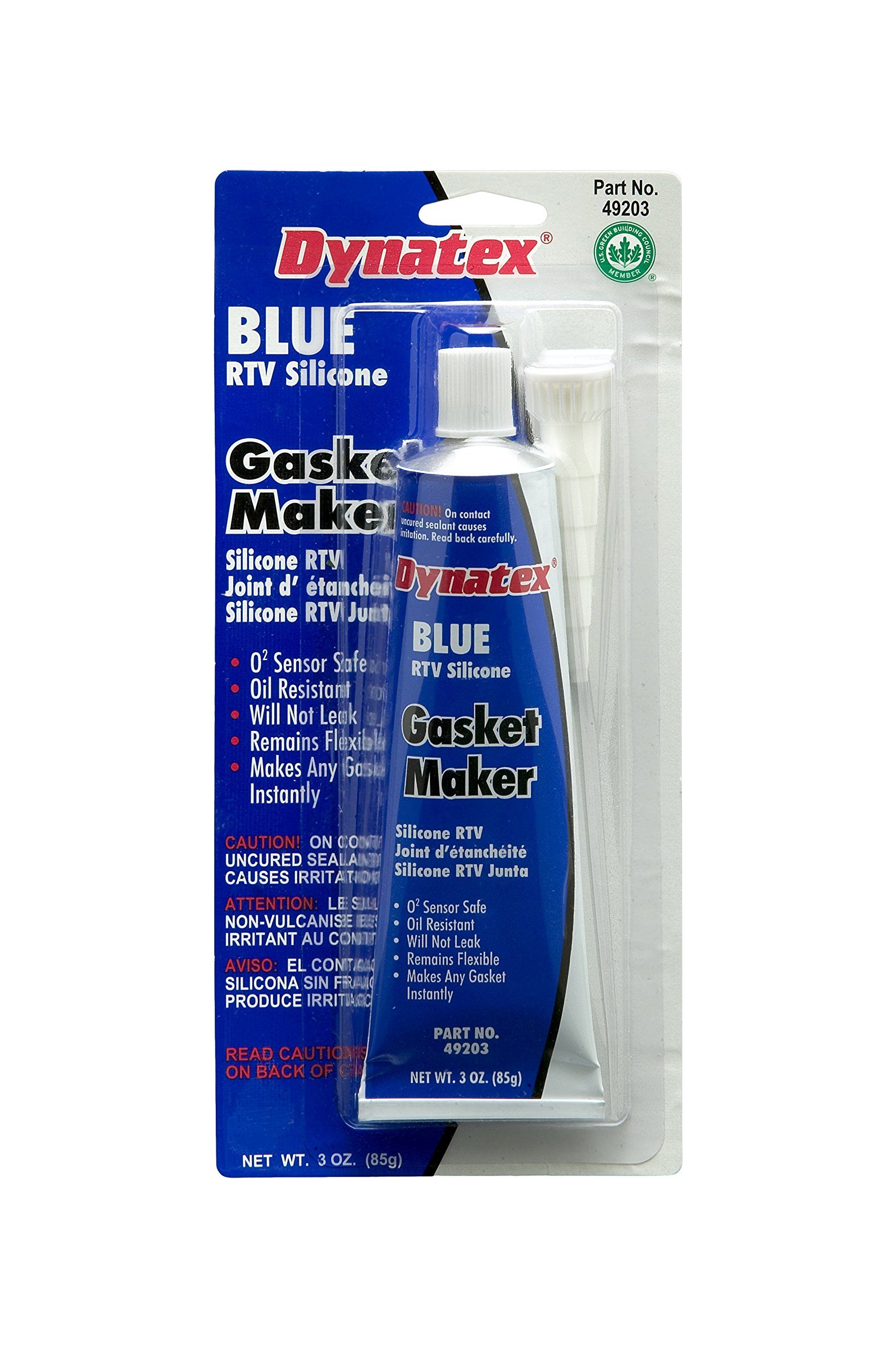 Dynatex 49203 Low Volatile RTV Silicone Gasket Maker, 0 to 500 Degree F, 3 oz Carded Tube, Blue (Pack of 12)