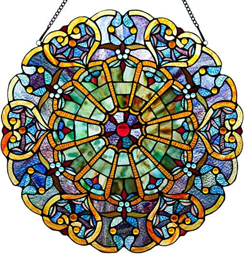River of Goods Webbed Hearts Medallion 23 H Stained Glass Round Window Panel Blue, Green Red Purple