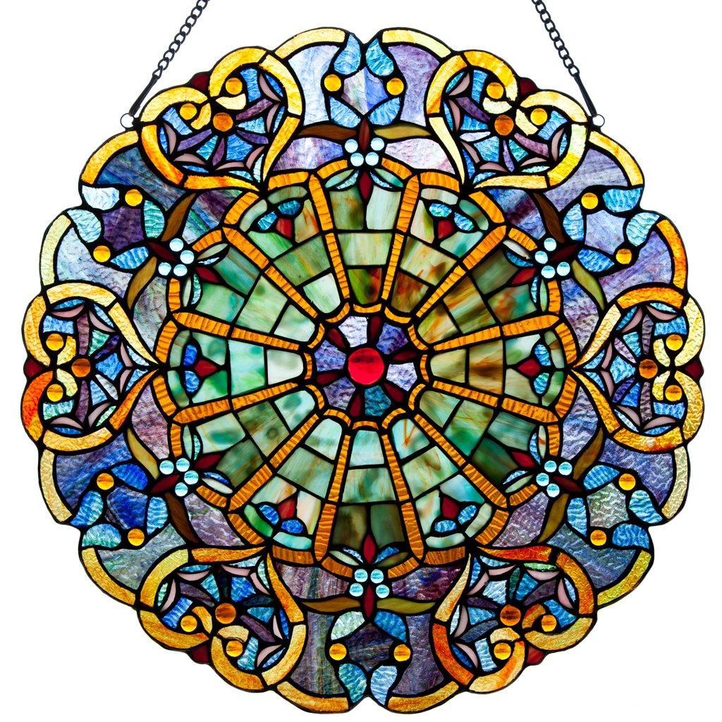 Victorian Style Stained Glass Panel: 23 Inch High Webbed Heart Decorative Window Hanging - Large Round Tiffany Style Blue, Green, Yellow & Red Framed Hangings - Ornament for the Wall or Windows by River of Goods