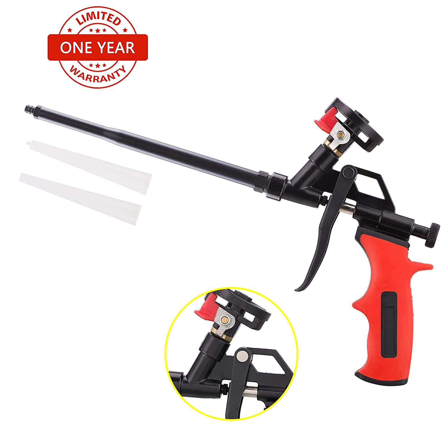 Needn't Clean Foam Gun, Pu Expending Foaming Gun, Upgrade Caulking Gun, Heavy Duty Spray Foam Gun, Mental Body Covered with PFTE, Suitable for Caulking, Filling, Sealing, Home and Office Use SOCSPARK