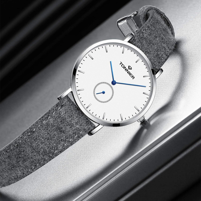 Amazon.com: Tonnier - Reloj ultrafino para hombre, correa de ...