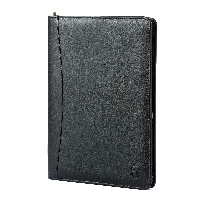Serviette en Cuir Porte-Documents et Bloc-Notes Nuvola Pelle Noir