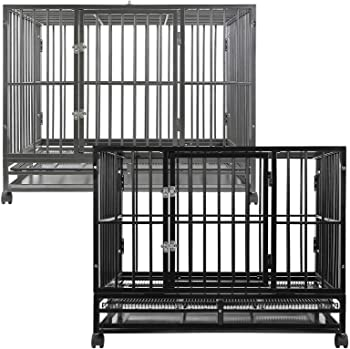 SmithBuilt Heavy Duty Dog Cage, 42-Inch, Hammered Silver