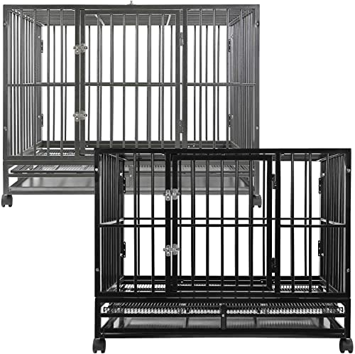 SmithBuilt Heavy Duty Dog Cage, 36-Inch, Hammered Silver