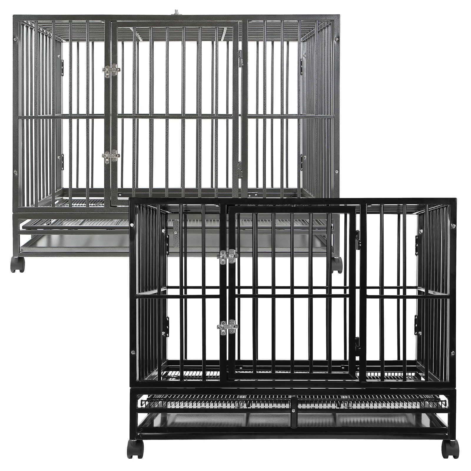 SmithBuilt 42'' Large Heavy-Duty Dog Crate Cage - XL Two-Door Indoor Outdoor Pet & Animal Kennel with Tray - Black by SmithBuilt Crates