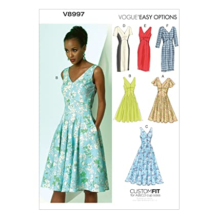 Amazon.com: Vogue Patterns V8997 Misses\' Dress Sewing Template, Size ...