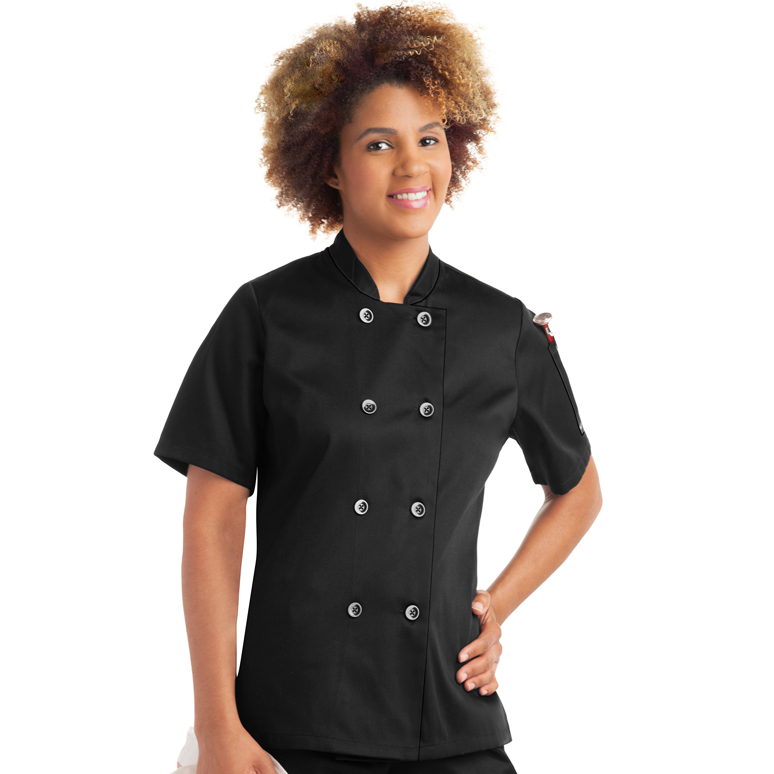 On The Line Women's Short Sleeve Chef Coat/Double Breasted/Plastic Button Reversible Front Closure (S-2X, 2 Colors) (Small, Black) by On The Line (Image #7)