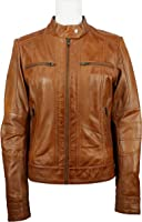 UNICORN Womens Biker Style Jacket - Real Leather Jacket - Brown #4U