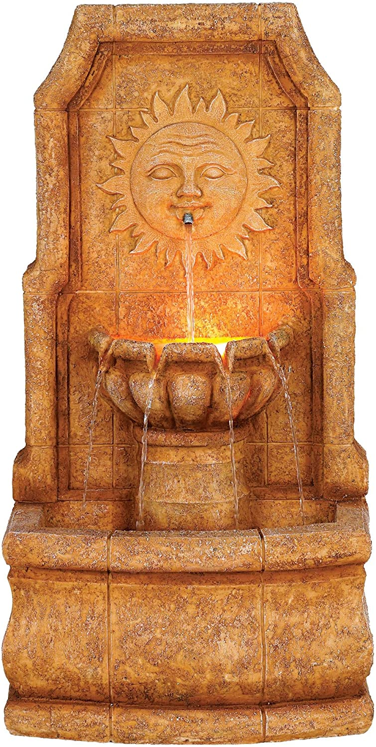 Lamps Plus Sun Villa Outdoor Wall Water Fountain with Light LED 37