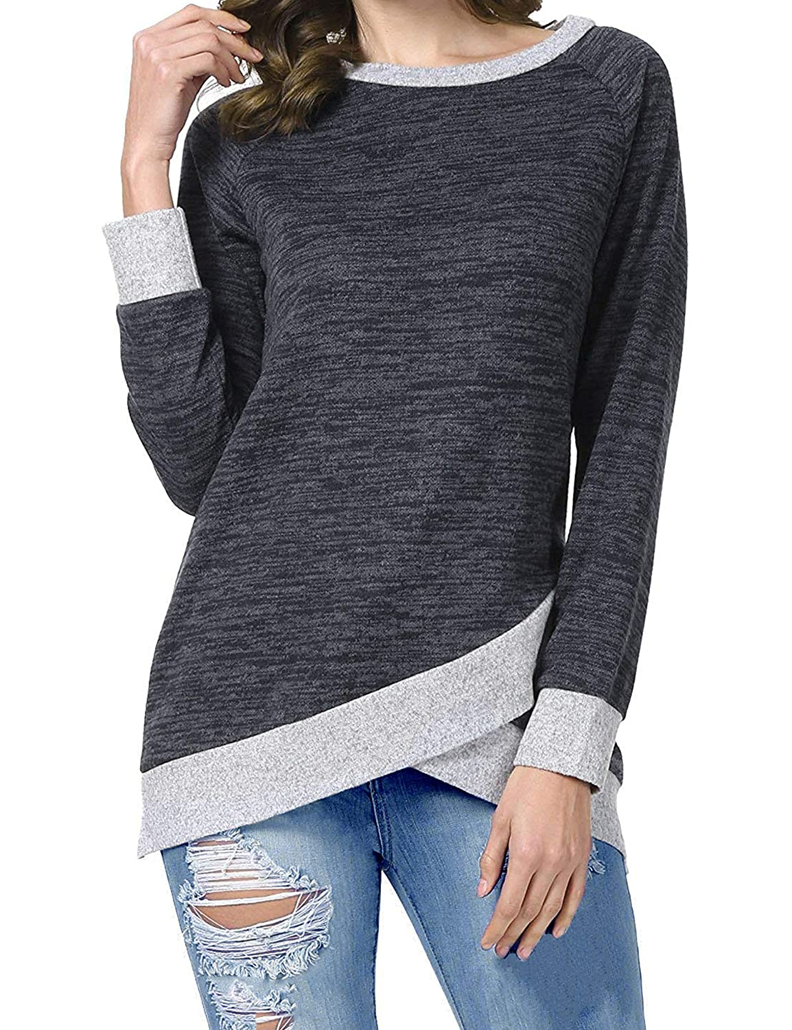 Odosalii Womens Crewneck Short Sleeve Color Block Loose T-Shirt Casual Baggy Sweatshirt Tee Blouse Tunic Top