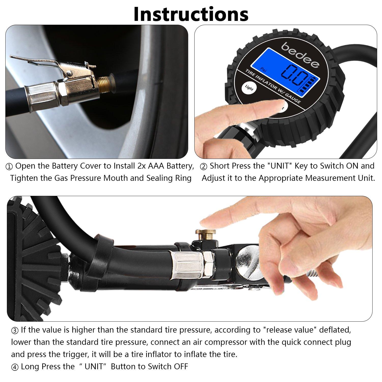 bedee Tyre Inflator, Tyre Pressure Gauge Tyre Pump with LED Light Blow Gun Pressure Gauge Electric Portable Air pump Tyre Inflator/Deflator 200 PSI High-Precision for Car Truck Van Motorcycle