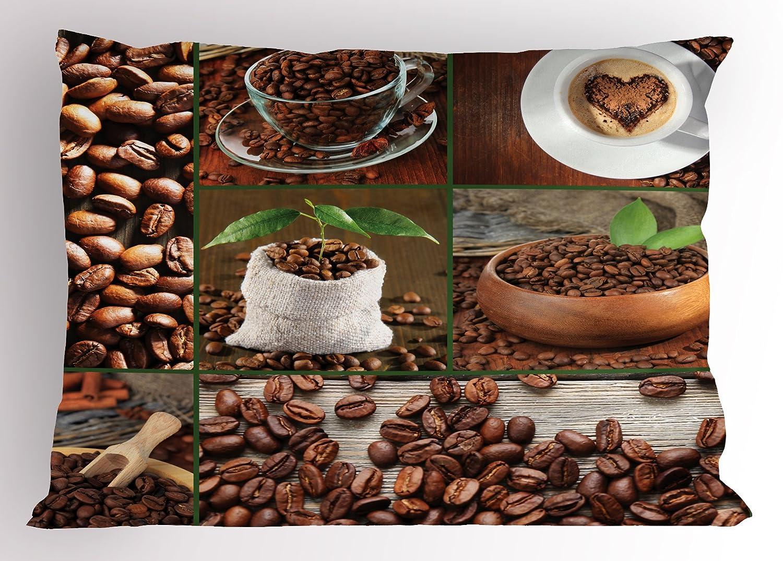 Marrón Almohada Sham por Ambesonne, Collage de granos de café en vasos y bolsas con verde hojas de mesa de madera Foto, decorativo impreso funda de almohada ...