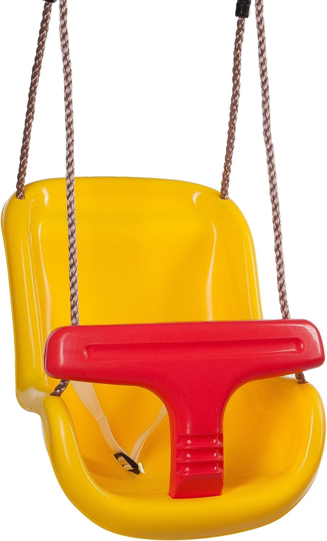 Ultrakidz Asiento de columpio Basic para bebé con estribo de protección y cinturón, columpio para bebés, Amarillo/Rojo