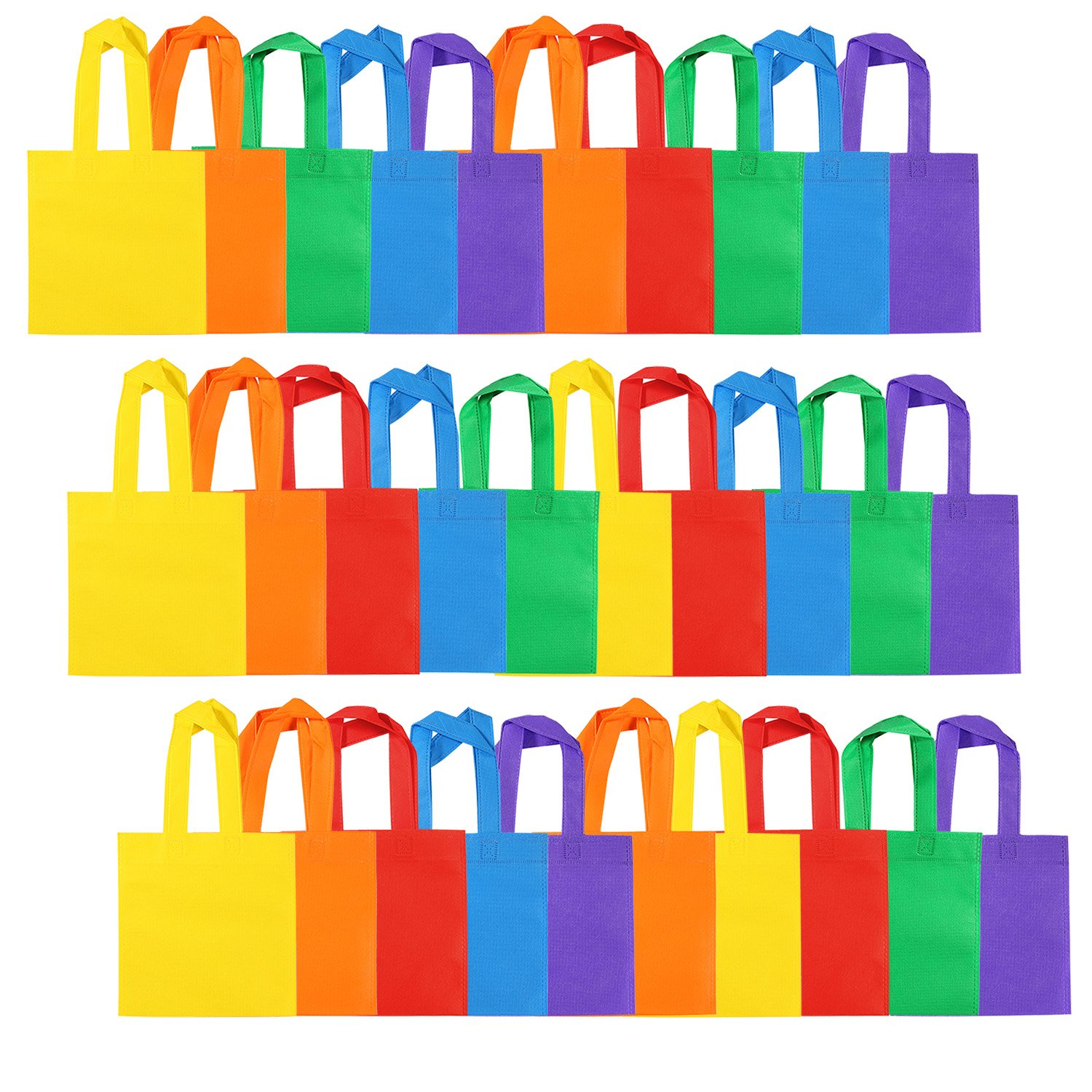 Aneco 30 Pieces 8 by 8 Inches Non-woven Party Bags Tote Bags Party Goodie Treat Bag Rainbow Colors Gift Bag with Handles for Birthday Party Favor, 6 Colors by Aneco
