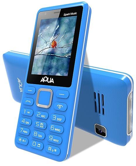 10116ab60ed Aqua Spark Music 3000 mAh Battery Dual Sim Basic Mobile Phone - Blue   Amazon.in  Electronics