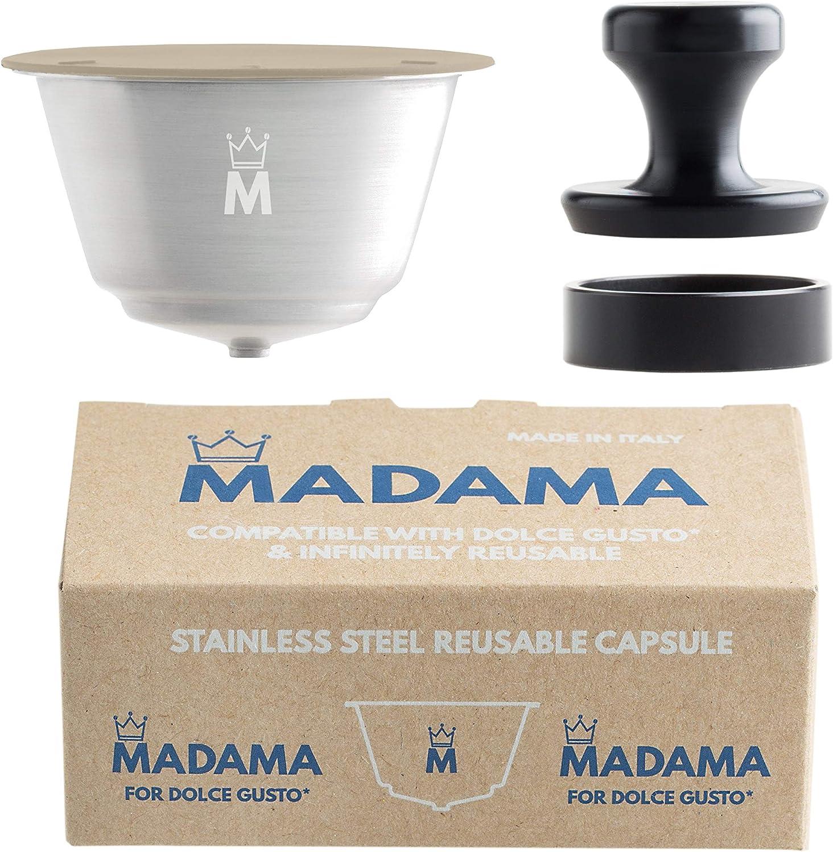 Madama - Cápsula de café Dolce Gusto recargable, reutilizable y compatible. Acero inoxidable y silicona apta para alimentos. 100% fabricado en Italia. Paquete de una cápsula