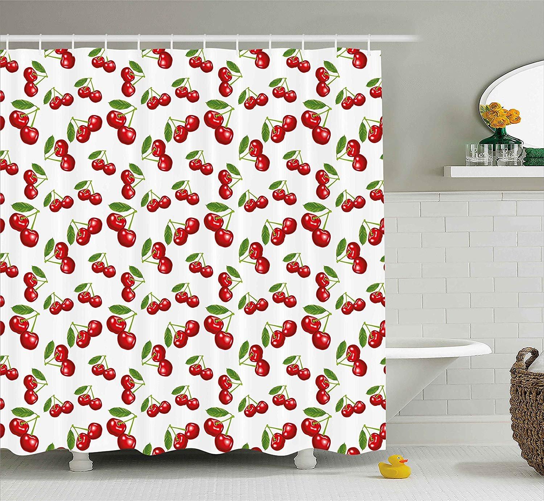 Franala Kitchen Cherry Pattern Design Fresh Berry Fruit Summer Garden Macro Digital Print Red Green White Polyester Fabric Shower Curtain Sets Hooks Creative Bathroom Shower Curtain