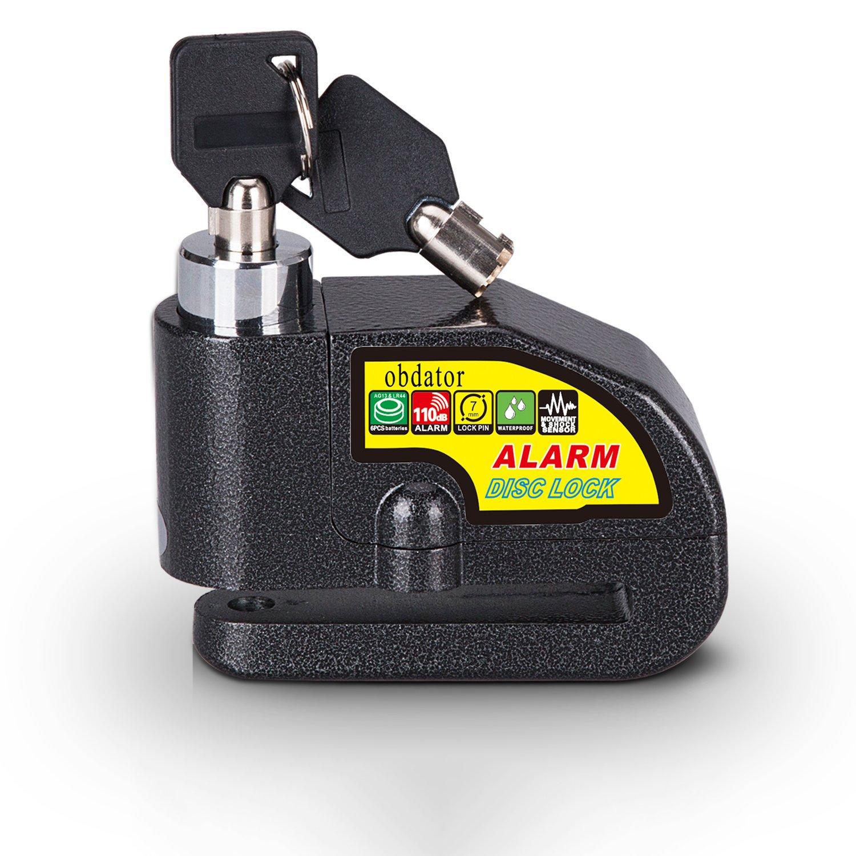 Alarm Disc Lock OBDATOR Anti-theft Motorcycle Motorbike Alarm Disc Lock 110dB Alarm Sound and 7mm Pin Brake Disc Wheel Security Lock for Motorcycles