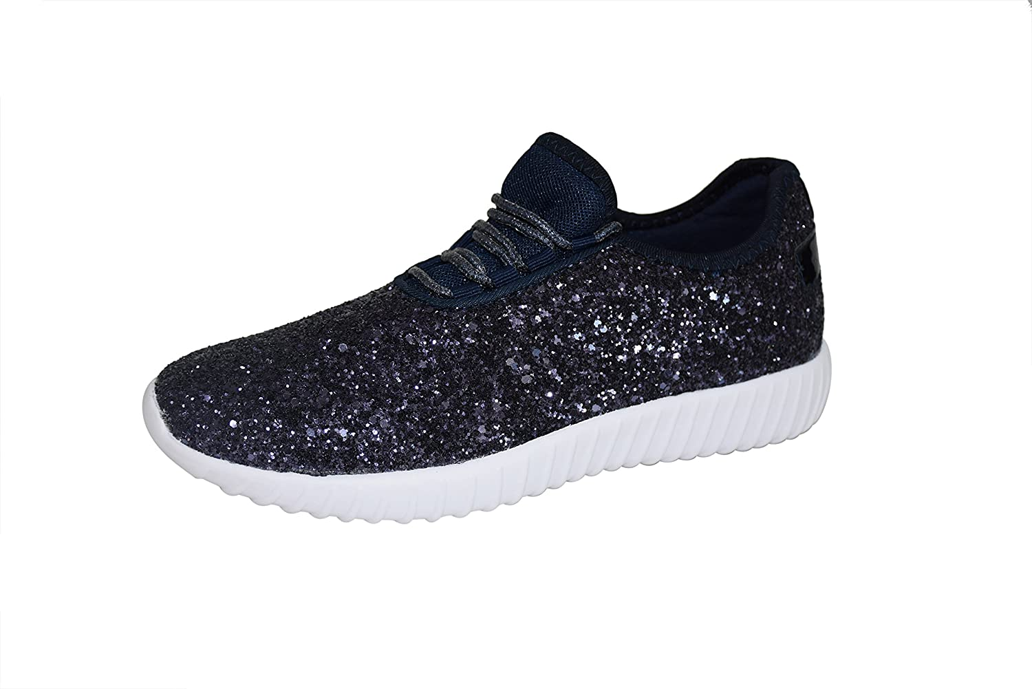 ROXY ROSE Women Fashion Jogger Sneaker - Lightweight Glitter Quilted Lace up Shoes & Elastic Tongue B07CTK1KNG 9 B(M) US Navy