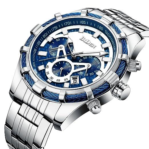 Relojes para hombre de moda casual de lujo marca cronógrafo azul relojes de acero inoxidable resistente al agua cuarzo reloj para hombre: Amazon.es: Relojes
