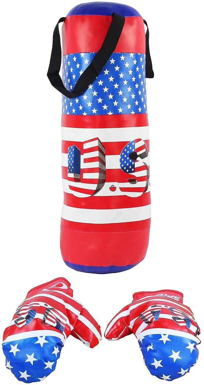 AJ Toys & Games 愛国的 米国国旗 テーマ おもちゃ ボクシングプレイセット 詰め物入りパンチバッグ付き ソフトパッド入りボクシンググローブ 子供用 B07J5NVJ39