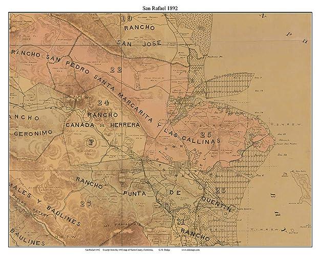 Amazon Com San Rafael California 1892 Old Map Custom Reprint