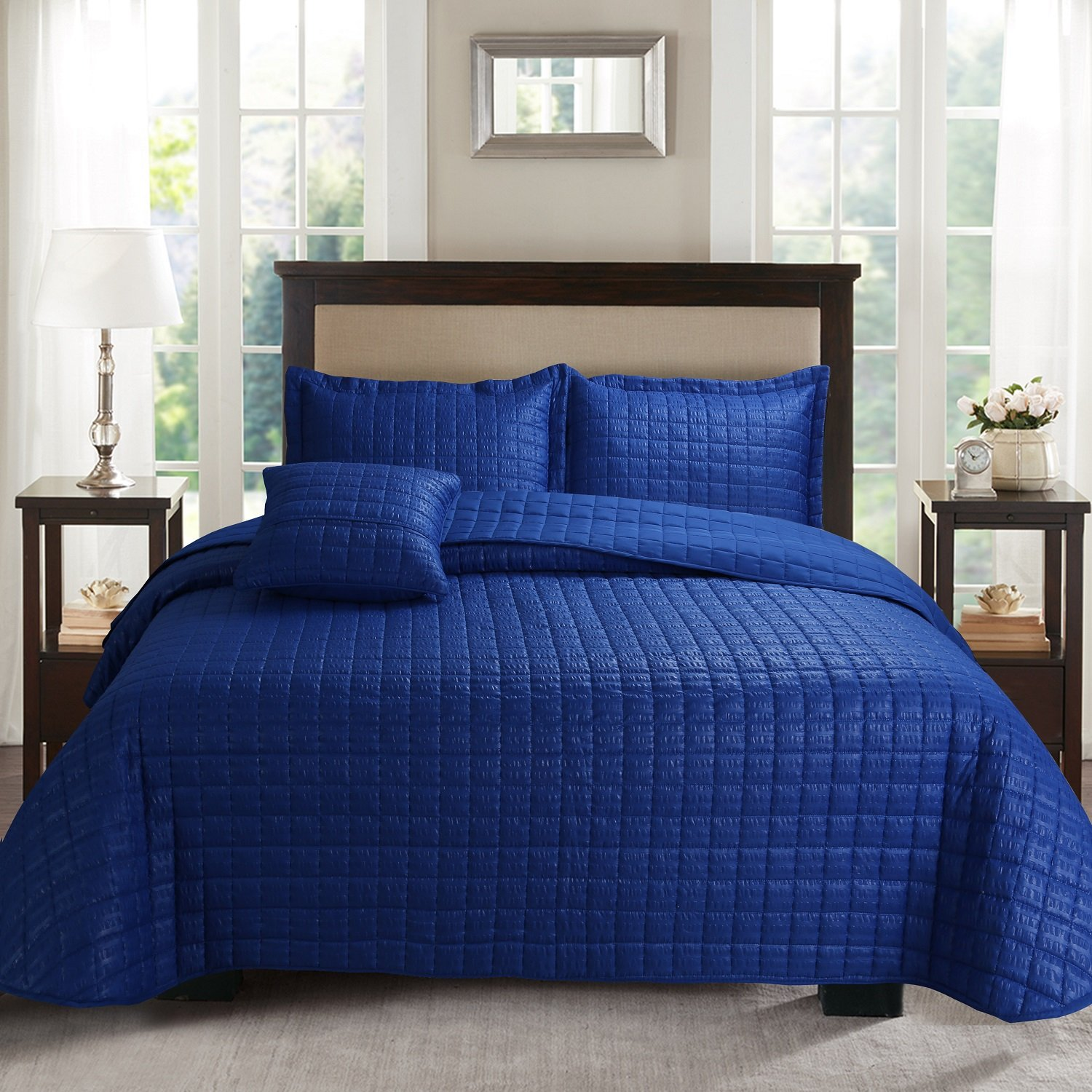 4-Piece Bubble Reversible Solid Quilt set with Shams, as Bedspread,Coverlet, Blanket, summer quilt or Bed Cover,King size-Soft, Lightweight and Hypoallergenic, all seasons(BLU ROYAL, 106X96)