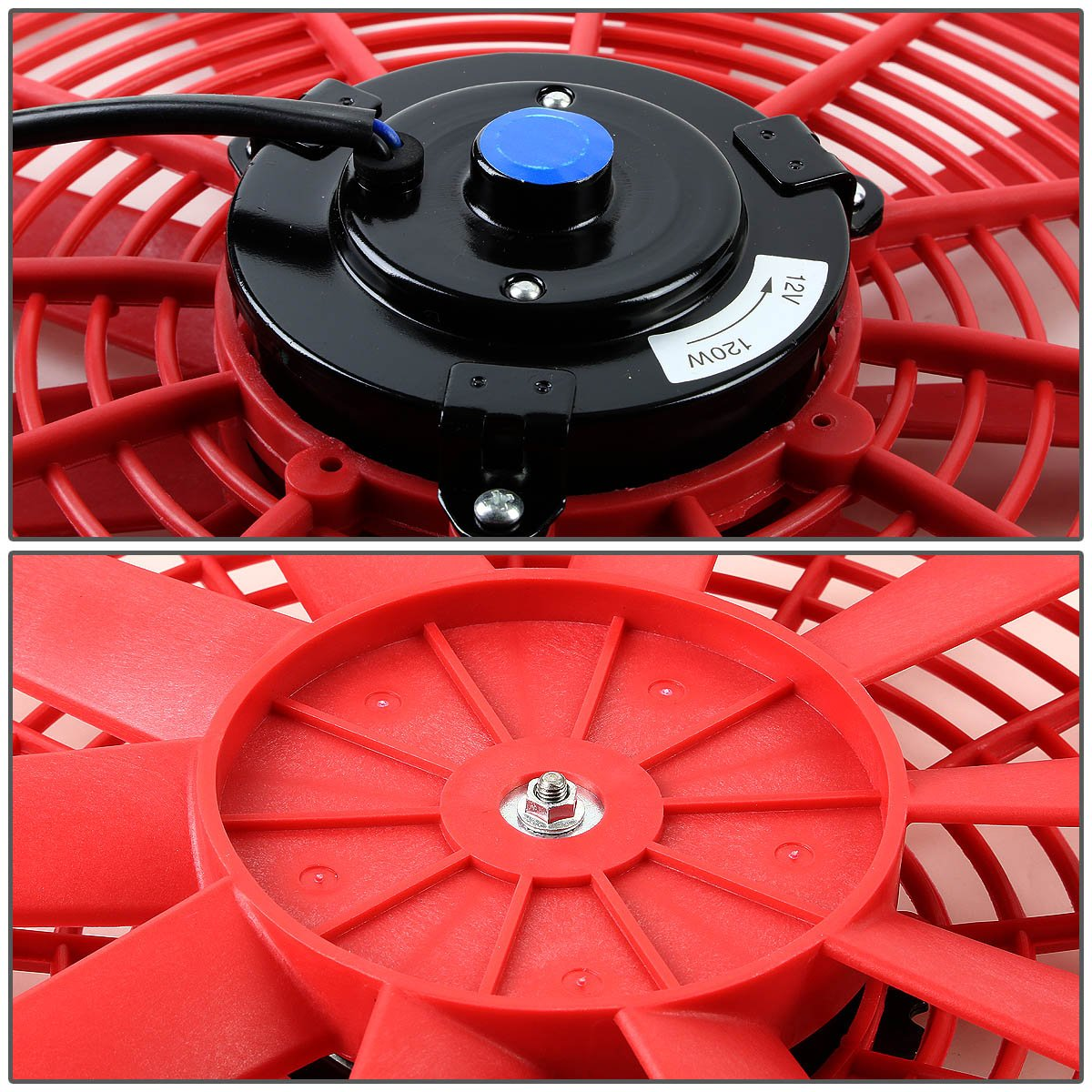 (Pack of 2) 16 Inch High Performance 12V Electric Slim Radiator Cooling Fan w/Mounting Kit - Red by Auto Dynasty (Image #4)