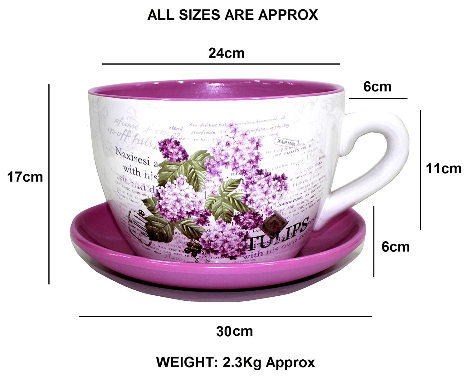 Decorative Novelty Terracotta Tea Cup and Saucer Shaped Garden Patio Flower Planter Plant Pot Tub (Large Butterfly Butterflies)