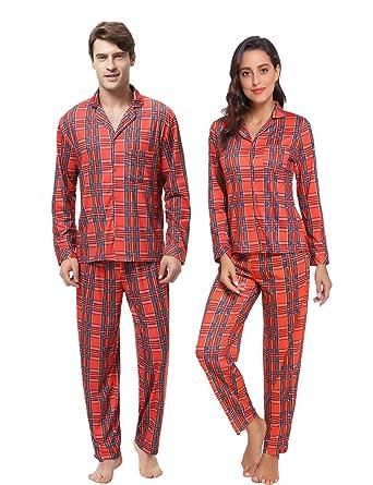 Karierte Schlafanzug mit Kopfleist Langarm Shirt und Pyjamahose Aibrou Winter Familie Herren Damen Lang Pyjama Set