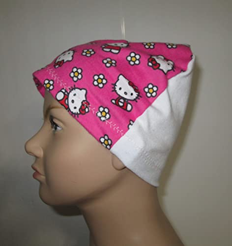 0be775099 Image Unavailable. Image not available for. Color: Kids Pink Hello Kitty  Flannel Cap Chemo Hat Alopecia Head Cover Cancer Scarf