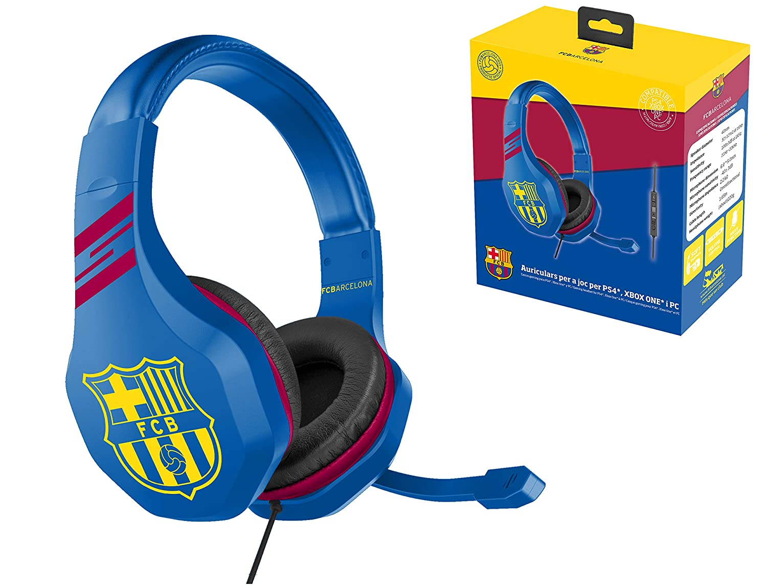 2fc022bee5b Gaming headset with microphone for Playstation 4 - PS4 Slim - PS4 Pro -  Xbox One - PC - Gamer accessory club FCB FC Barcelona: Amazon.co.uk: PC &  Video ...