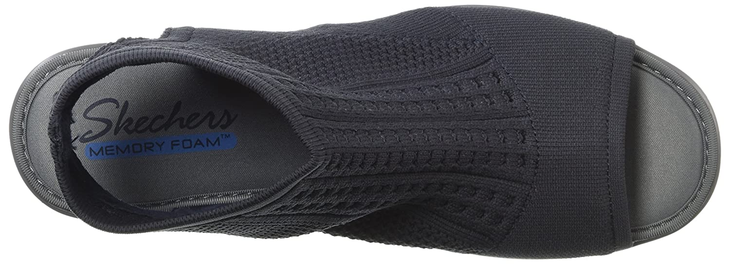 Skechers Womens Parallel-Tight Peep Toe Stretch Knit Sandal Wedge
