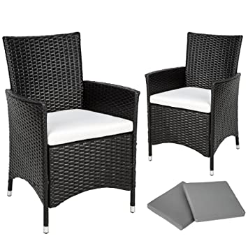 TecTake 2 x Ratán sintético silla de jardín set marco de aluminio con cojines + 2