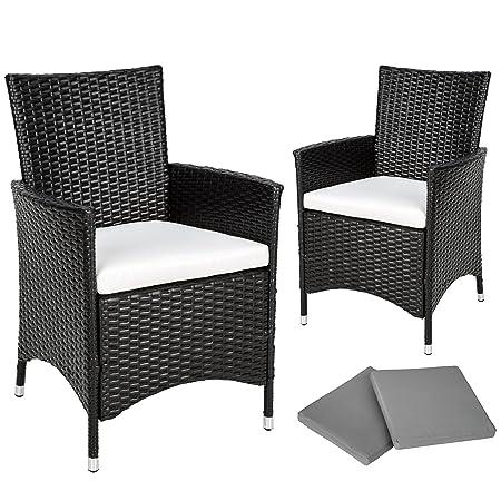 TecTake 2 x Ratán sintético silla de jardín set marco de aluminio con cojines + 2 Set de fundas intercambiables, tornillos de acero inoxidable - ...