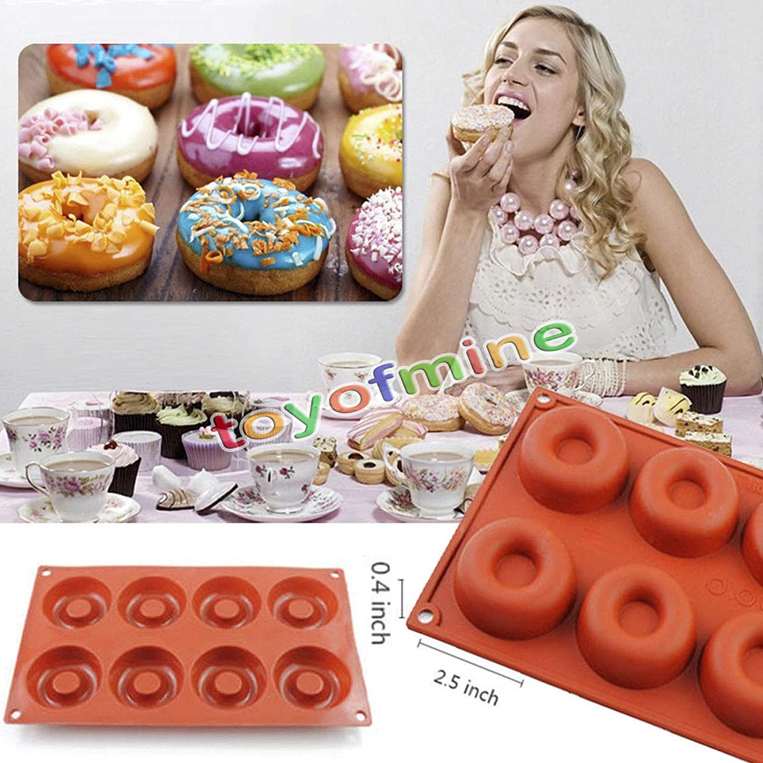 1PCS Donut Shape Round Muffin Sweet Candy Jelly Fondant Cake Chocolate Mold Silicone Tool Baking Pan DIY