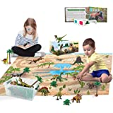 3D Dinosaur Toys Playset - 3D Dinosaur Book and Double-Sided XL Activity Play Mat with Realistic Dinosaur Figures and…