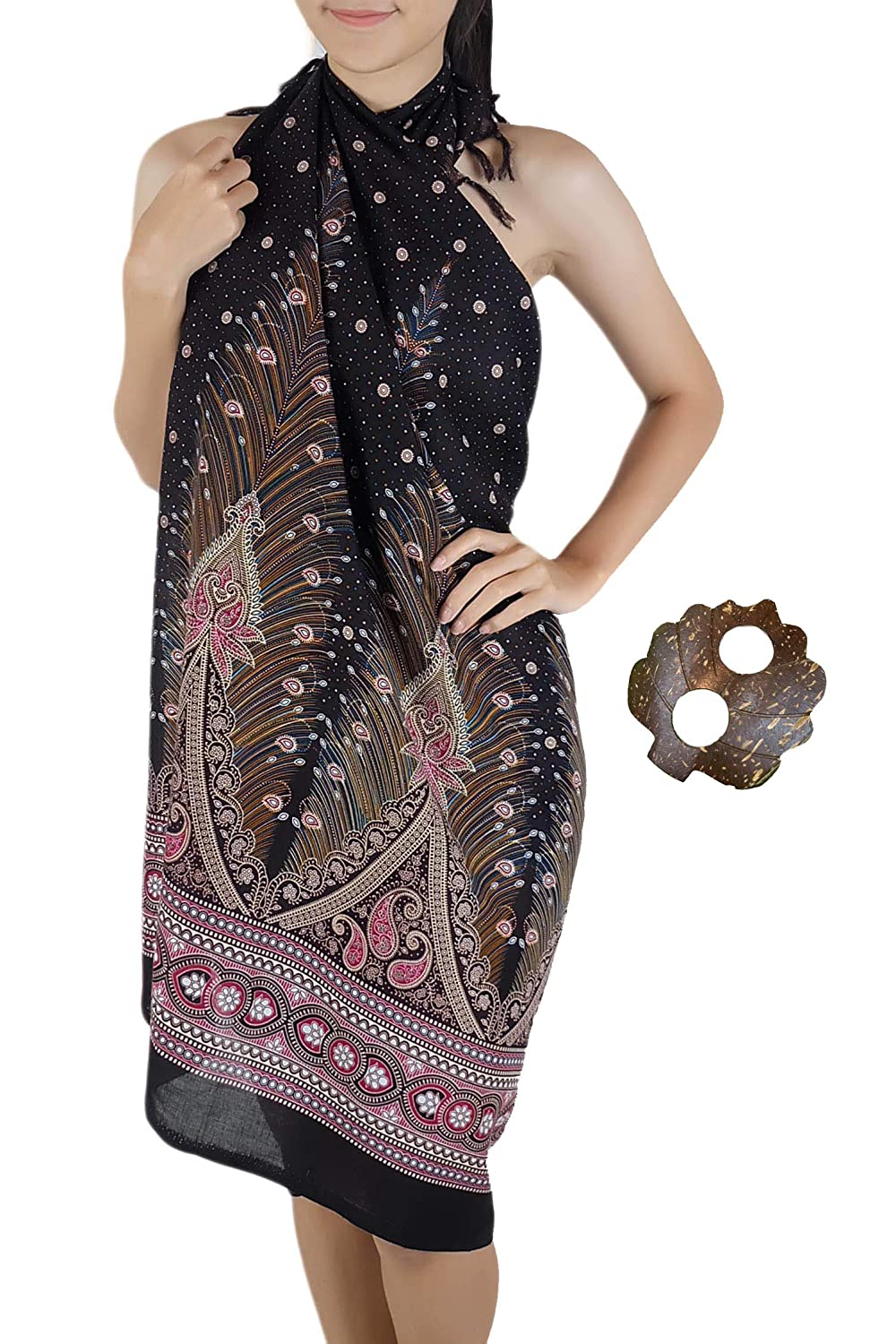 9660ac8678 Iyara Peacock Feathers Midnight Charming Scraf Style Women Pareo Sarong  with Coconut Shell Brooch (Black) at Amazon Women's Clothing store: