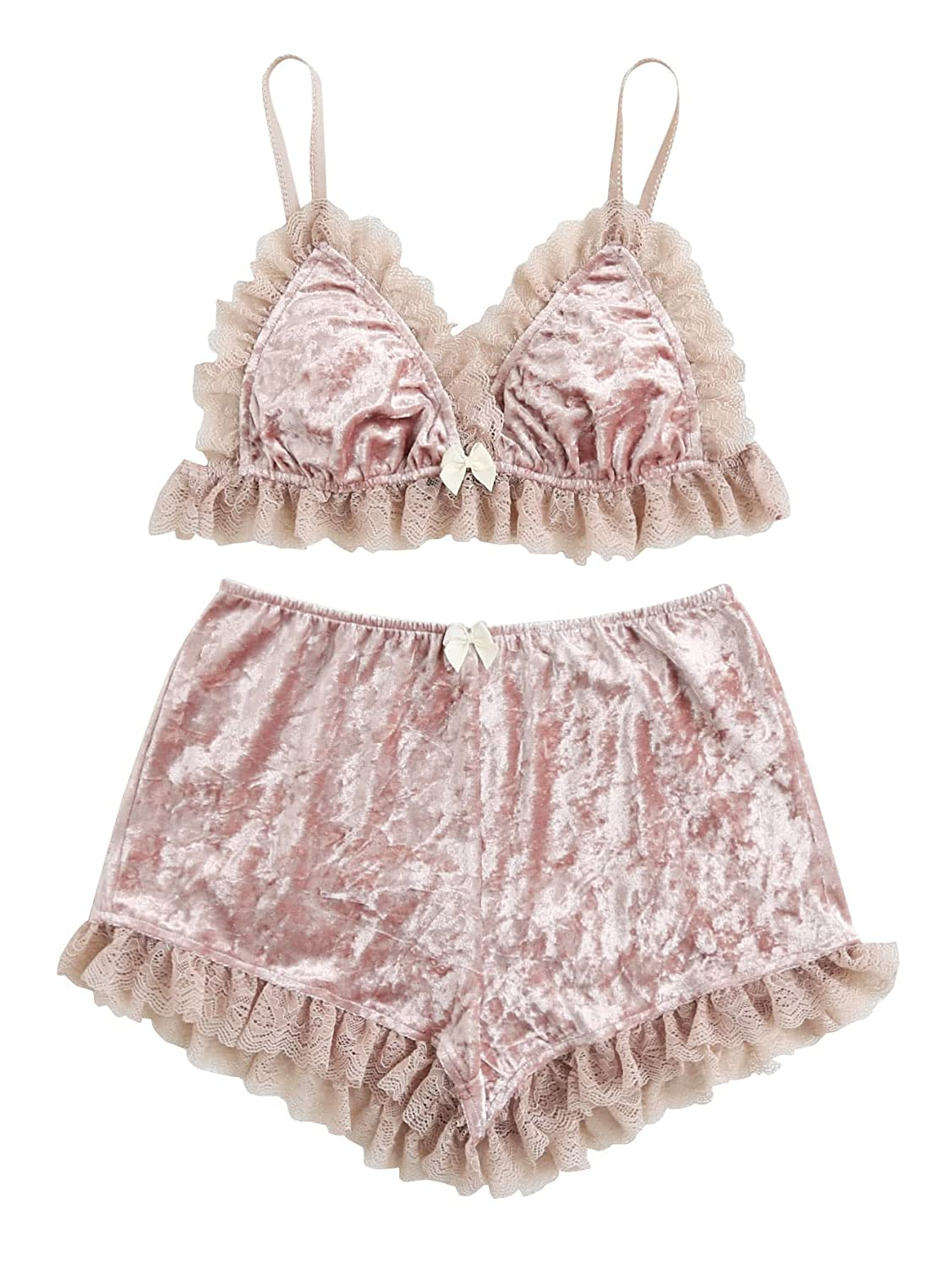 284314f4b9a0b DIDK Women s Lace Trim Velvet Bralette and Shorts Pajama Set at Amazon  Women s Clothing store