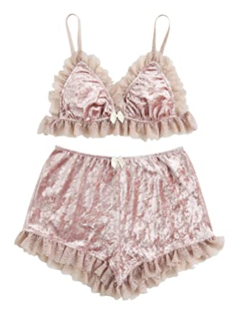f95e1281a5 DIDK Women s Lace Trim Velvet Bralette and Shorts Pajama Set Pink XS