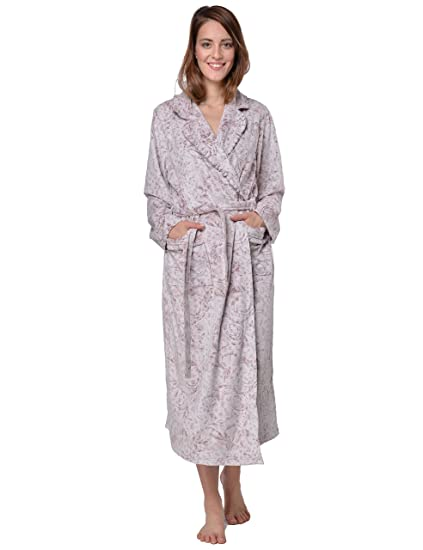 RAIKOU Ladies Luxury Bathrobe Dressing Gown Sauna Coat Loungewear Soft and Super  Fluffy Coral Fleece Relax Terry Microfiber with Burnout Technique and Belt ed54f0165